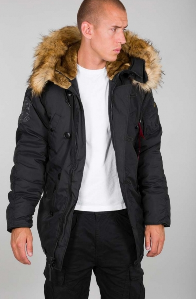 PARKA EXPLORER NEGRA ALPHA INDUSTRIES CAPUCHA DESMONTABLE